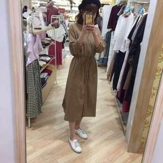 earth 駝色洋裝 / 外套(雙穿)