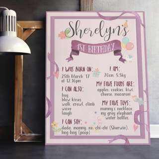 Baby children birthday board