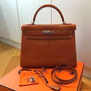 Authentic Hermes Kelly 32cm Epsom Leather Bag 雙環 內縫 手袋