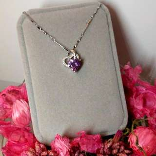 簡約經典紫水晶心形閃亮頸鏈 Simple Classic Amethyst Heart Shaped Shiny Necklace 情人節禮物 Valentine's Day Gift❤🎁