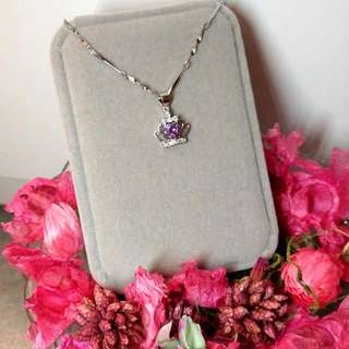 優雅皇冠紫水晶吊墜頸鏈 Elegant Crown Amethyst Pendant Necklace 情人節禮物 Valentine's Day Gift❤🎁