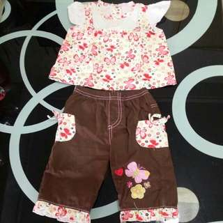 Babygirl set butterfly brown 3/6 mos