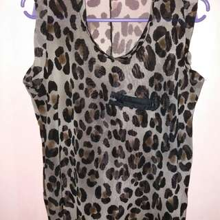 Blouse sleeveless animal print