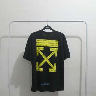 Baju Kaos Off White Fire Line Tape T-Shirt