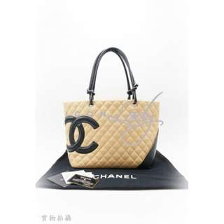 CHANEL A25169 Cambon Ligne 杏色皮革 黑色CC Logo 購物袋 肩背袋 手袋