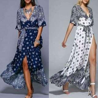 Printed Slit Maxi Dress