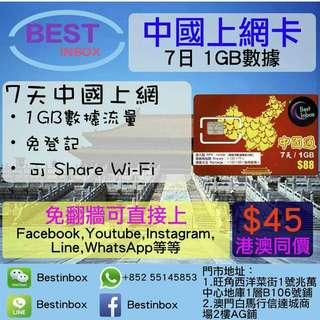 🌕🕦🌘🌙🌑🌖🌖🌑🌚我地係唔洗翻場!! 中國7天1GB上網卡 4G 3G 高速上網~ 可上Facebook,Youtube,Line,Instagram等等