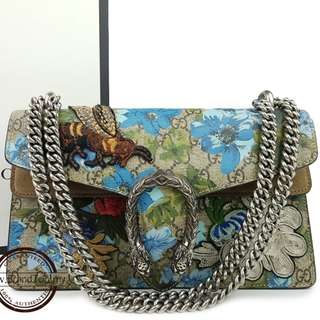 Authentic Gucci Painted Flowers And Patches GG Supreme Dionysus Shoulder Bag