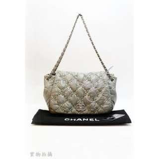 CHANEL A50630 ACCORDION 灰綠色尼龍 菱格紋CC Logo 銀鏈肩背袋 手袋