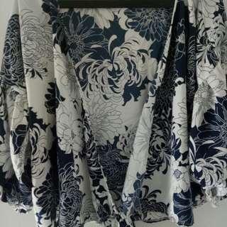 Blouse Kimono Flower All Size