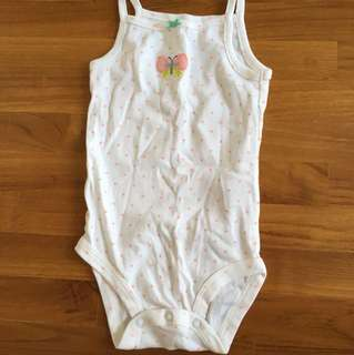 Carter's Romper - white with pink polka dots - 18 months