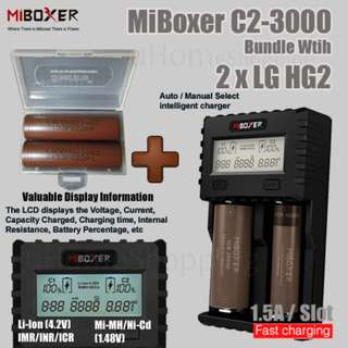 MiBoxer C2-3000 1.5A Per Slot Fast Smart Charger With UK Plug Bundle With 2 x LG HG2 Batteries
