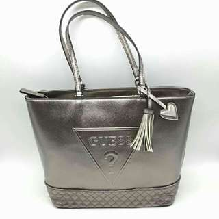 AUTHENTIC GUESS METALLIC TOTE  ROSE GOLD & PEWTER