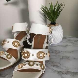 Boho white heel