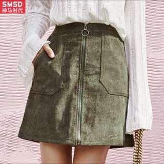 全新)綠色絨面裙