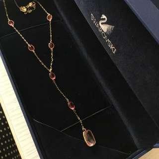 Swarovski rose gold 粉紅桃紅晶石頸鏈,項鍊