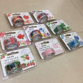 日本直送🇯🇵BANDE的貼紙型紙膠帶-櫻花款 草莓 康乃馨 三色堇 綠葉 粉紅玫瑰
