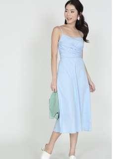 Baby blue self-tie cami dress