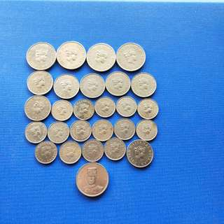Burnei coin 10,20,50 cents 27 pcs, face value $5.40