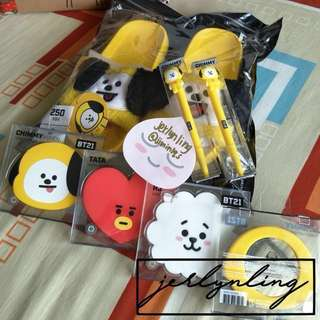 [INSTOCK] BTS BT21 OFFICIAL MERCHANDIZE (ONLY 1 EACH - chimmy, tata, rj mirror/chimmy pen/chimmy boucle sandals slippers)