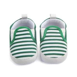 🐰Instock- green stripe crib shoes, baby infant toddler girl boy children glad cute 123456789