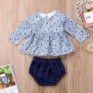 🐰Instock - 2pc blue floral set, baby infant toddler girl children glad cute 123456789