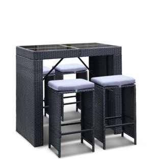 5-Piece Outdoor Bar Table and Stools Set  SKU: FF-BARSET-BK-5AB