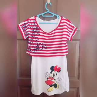 [READY STOCK] Disney Mickey Minnie Mouse Two pieces top Set wear