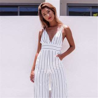 🦄 TILOS WHITE STRIPED JUMPSUIT
