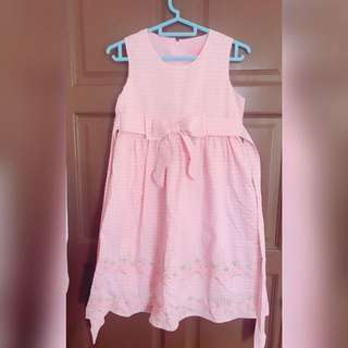 [READY STOCK] Pink and white checkered flower dress kid wear