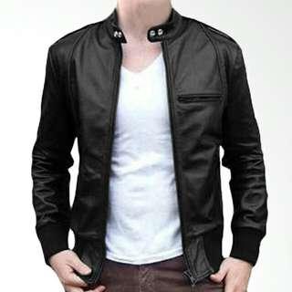 Jaket kulit pria motor murah casual