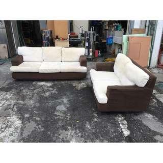 東鼎二手家具 棉麻布 雙色2+3人座沙發椅組*客廳沙發*布沙發*洽談沙發*辦公沙發*整套沙發*二手沙發*沙發椅