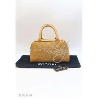 CHANEL 啡色皮革 車線 CC Logo 保齡球袋 手挽袋 手袋