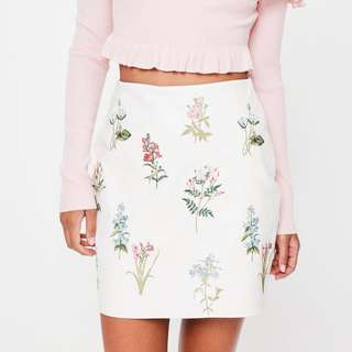 Missguided White Embroidered Faux Leather Mini Skirt