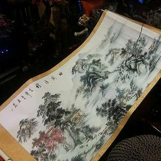 Vintage Antique Chinese Handpainted San Sui Scroll Big Good Feng Shui