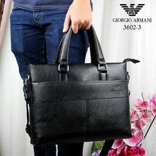 Office Bag Giorgio Armani Series 3602-3 Uk 37x18x7cm Material : Leather berat 850gr  Ready 2 warna  Black, Brown. harga 290rb