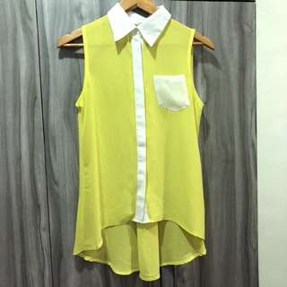 Yellow collared chiffon blouse