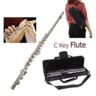 Professional Flute Silver Plated 16 Holes C Key Cupronickel Musical Instrument - 80 % NEW