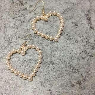 全新-日本珍珠愛心耳環