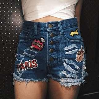 Paris High Waist Maong shorts