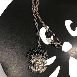 🈹💥🈹💥日本中古二手 CHANEL 香奈兒 閃石皇冠造型復古 項錬 頸鍊 necklace