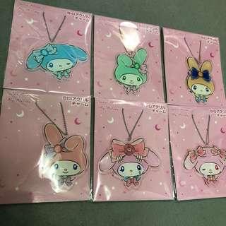 日本限定My Melody x Sailor Moon 美少女戰士一套六件鎖匙扣的