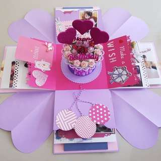 Birthday Handmade Explosion Box Card 15cm x 15cm