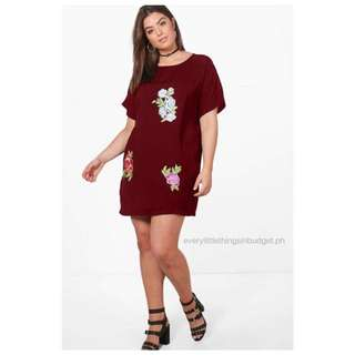 Embroidered Floral Tee Shirt Dress (PLUS SIZE)
