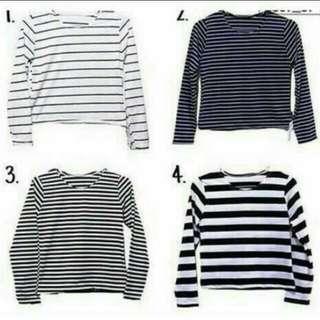 stripe t-shirt lengan panjang