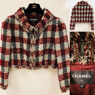 Chanel red with burgandy checkers jacket size 36