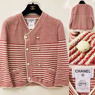 Chanel white and red cardigan size 34