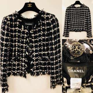 chanel black and white jacket size 38