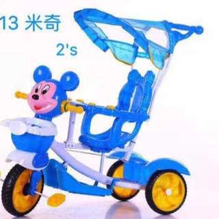 2 in 1 Blue Stroller/Bike with Handle Mickey Mouse Design
