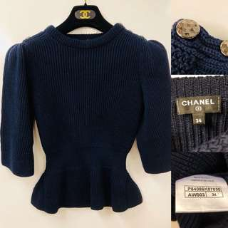 Chanel navy knitted top size 34